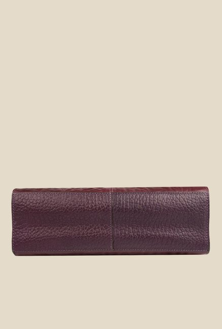 3c5d212ce2b Buy Hidesign Claudia 02 Aubergine Leather Textured Handbag For Women ...