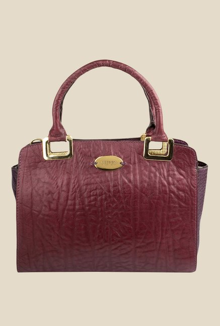 5a031e4b4eb Buy Hidesign Claudia 02 Aubergine Leather Textured Handbag For Women At  Best Price @ Tata CLiQ