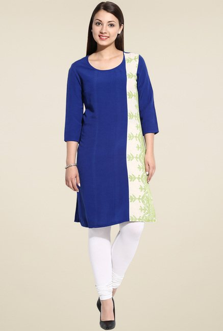Evam Blue Printed Long Kurta