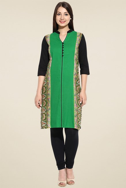 Avaana Green Printed Long Kurta