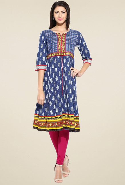 Evam Blue Cotton Long Kurta