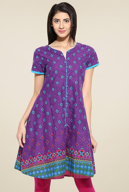 Evam Purple Cotton Long Kurta