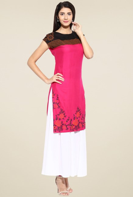 Evam Fuchsia Cap Sleeves Long Kurta