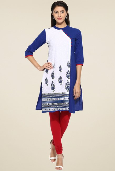 Evam Blue Cotton Straight Long Kurta