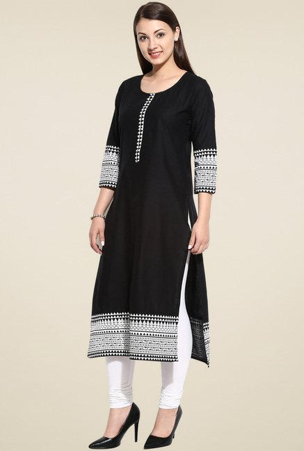 Evam Black 3/4th Sleeves Long Kurta