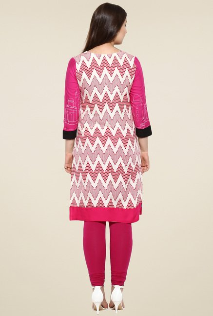Avaana Pink 3/4th Sleeves Long Kurta