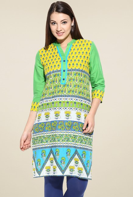 Avaana Yellow Cotton Straight Long Kurta