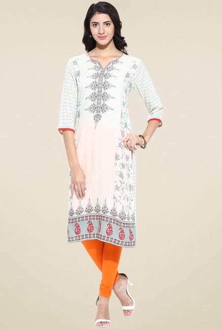 Evam Off-White Cotton Straight Long Kurta