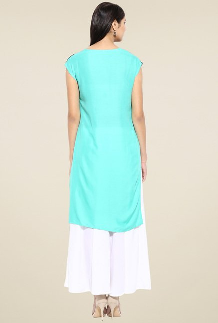 Evam Green Rayon Long Kurta