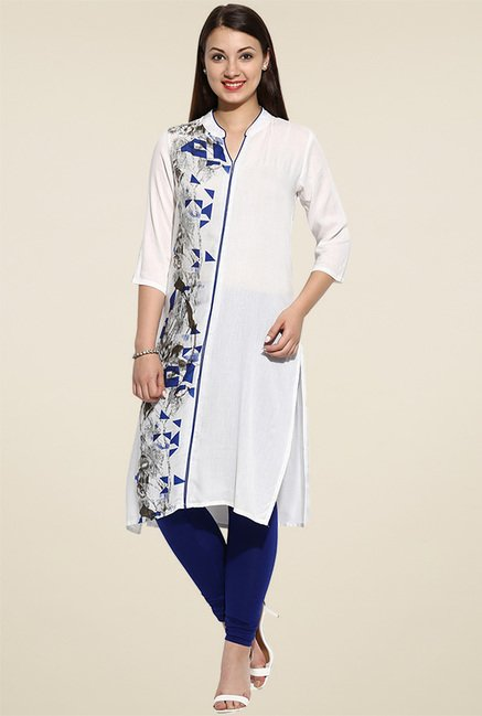 Avaana Blue Printed Long Kurta