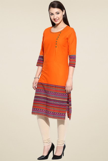 Avaana Orange Printed Kurta