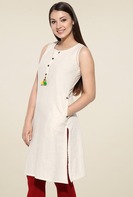 Avaana Off-White Sleeveless Long Kurta