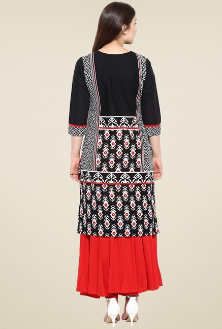 Avaana Black Printed Straight Long Kurta