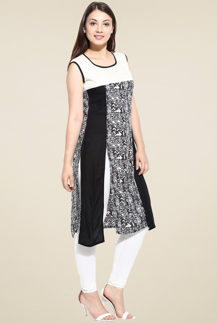 Avaana Black Sleeveless Long Kurta