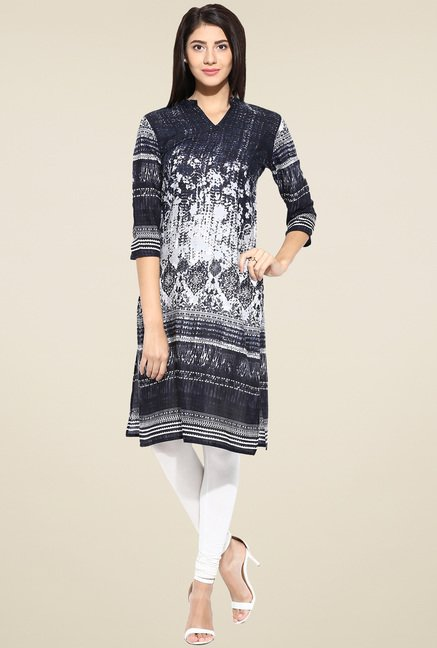 Evam Black Printed Straight Long Kurta