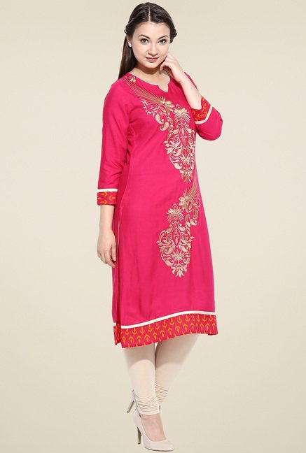Avaana Fuchsia Straight Long Kurta