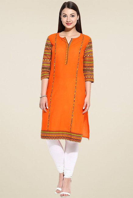 Avaana Orange Printed Long Kurta
