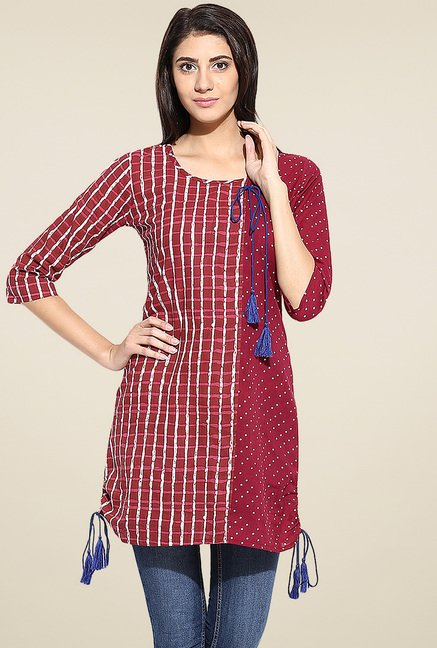 Evam Maroon Cotton Long Kurta