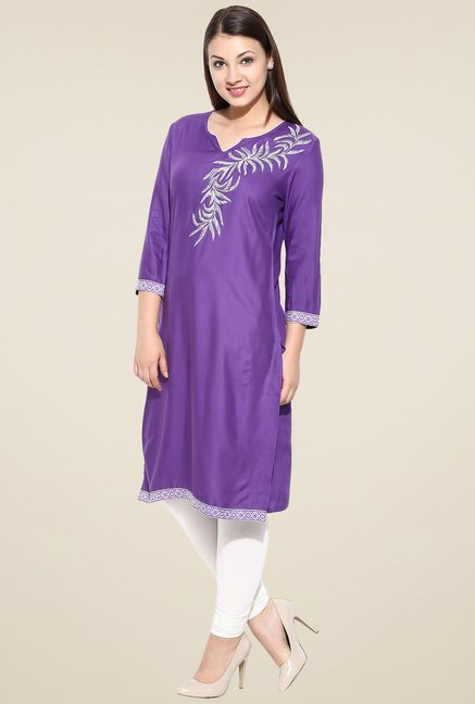 Avaana Purple Straight Long Kurta