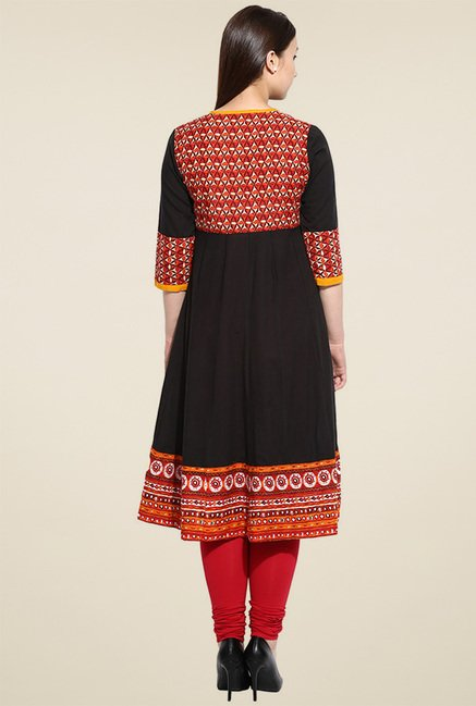 Evam Black Printed Anarkali Kurta