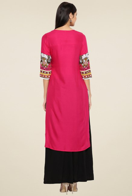 Evam Fuchsia and White Rayon Long Kurta