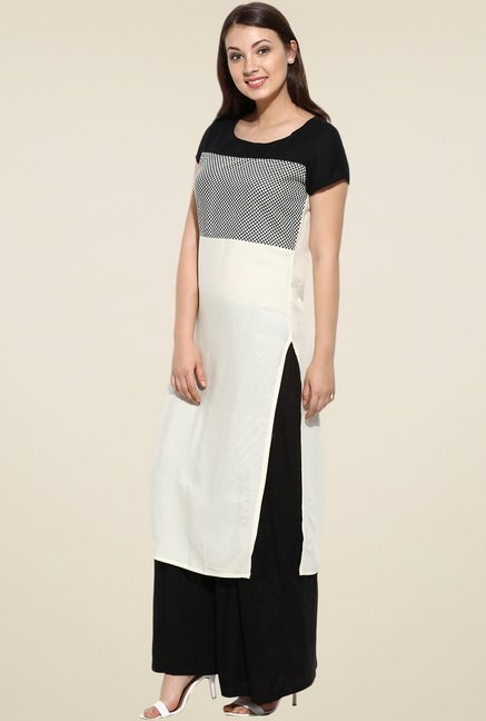 Avaana Off-White Short Sleeves Long Kurta