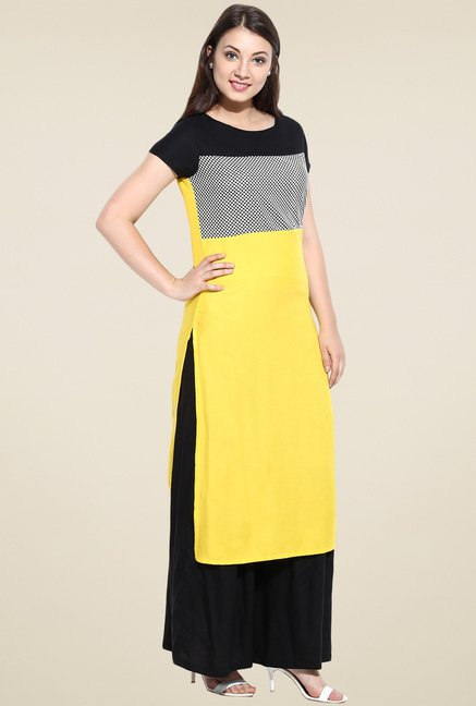 Avaana Yellow Straight Long Kurta