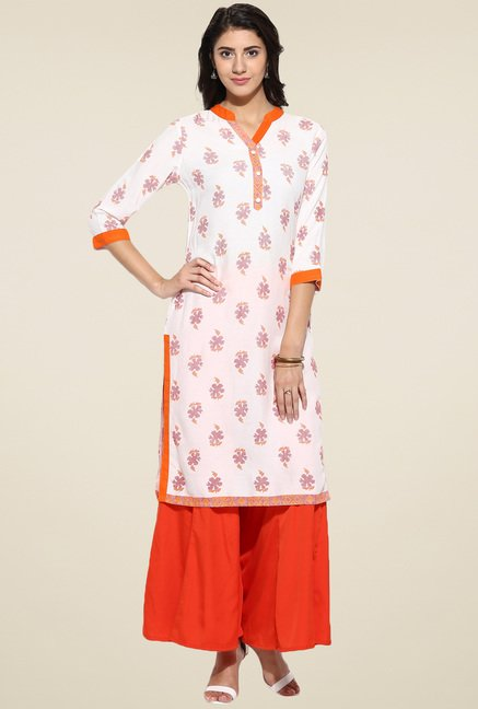 Evam Orange Rayon Long Kurta