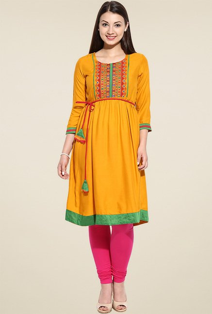 Avaana Yellow A-line Long Kurta