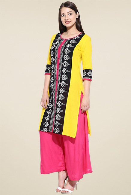 Avaana Yellow Printed Kurta