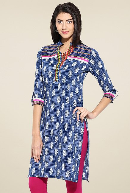 Evam Blue and White Regular Fit Kurta