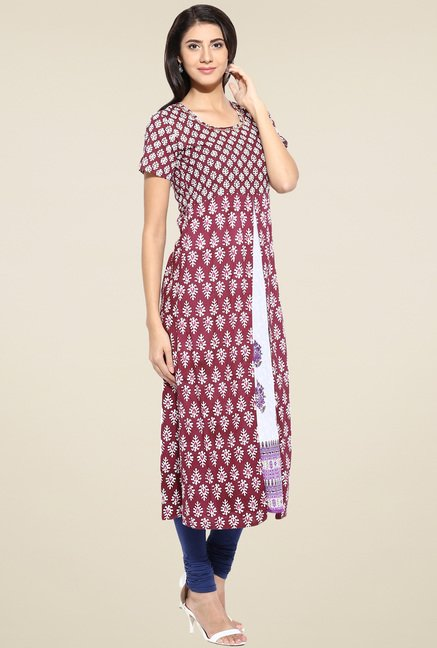 Evam Maroon Flaired Fit Long Kurta
