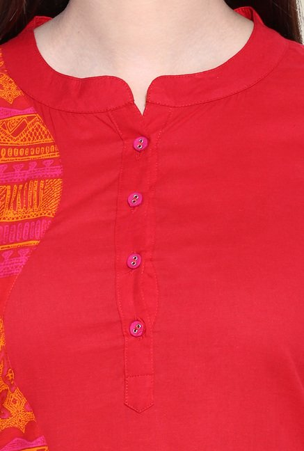 Avaana Red Cotton Long Kurta