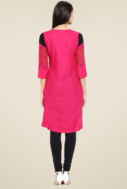 Evam Fuchsia Rayon Regular Fit Kurta