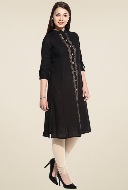 Evam Black Anarkali Long Kurta