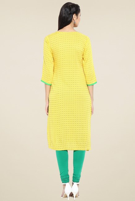 Evam Yellow Cotton Straight Long Kurta
