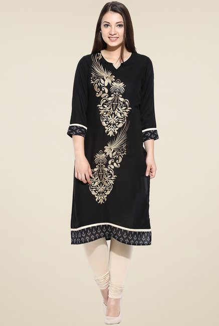 Avaana Black Embroidered Straight Long Kurta