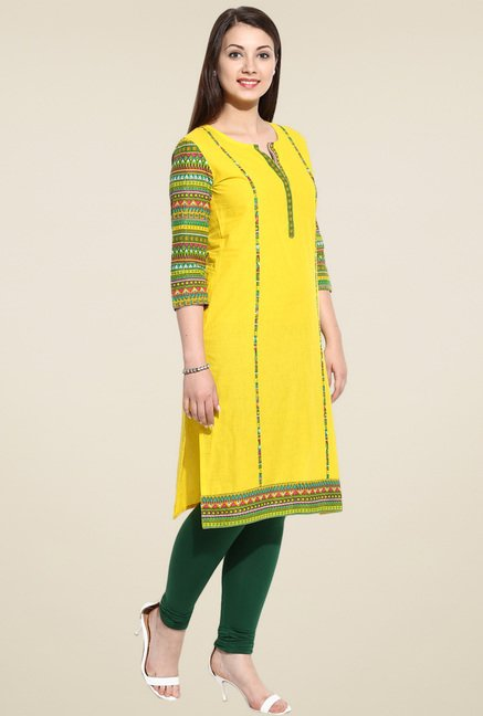 Avaana Yellow 3/4th Sleeves Long Kurta