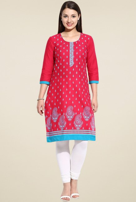 Evam Pink Printed Straight Long Kurta