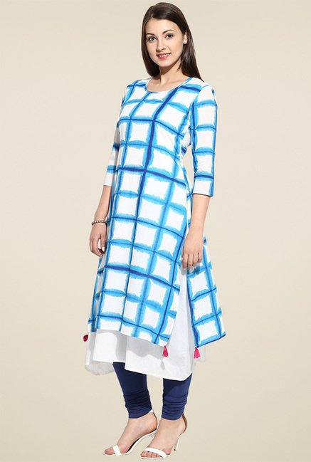 Evam Blue Flaired Long Kurta