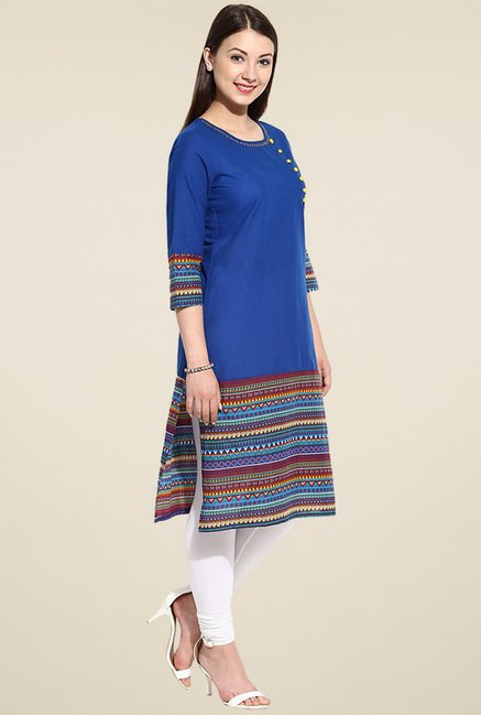 Avaana Royal Blue Printed Kurta