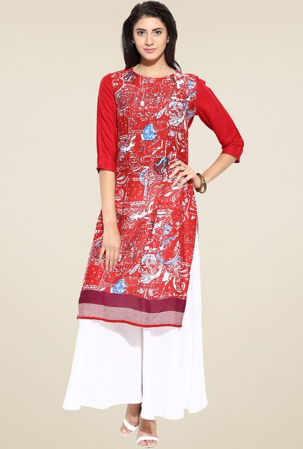 Evam Red Rayon Straight Long Kurta