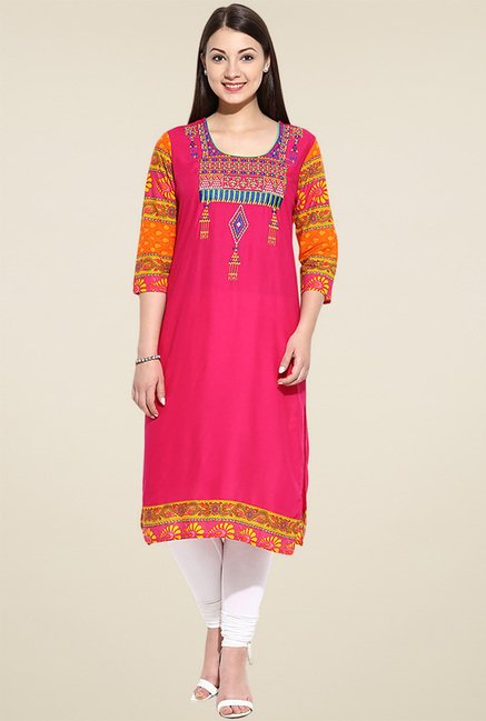Avaana Pink 3/4th Sleeves Kurta