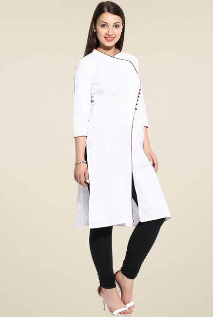 Evam White Long Kurta