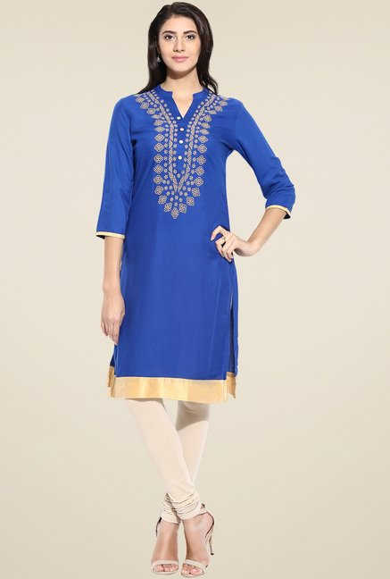 Evam Blue Rayon Regular Fit Kurta