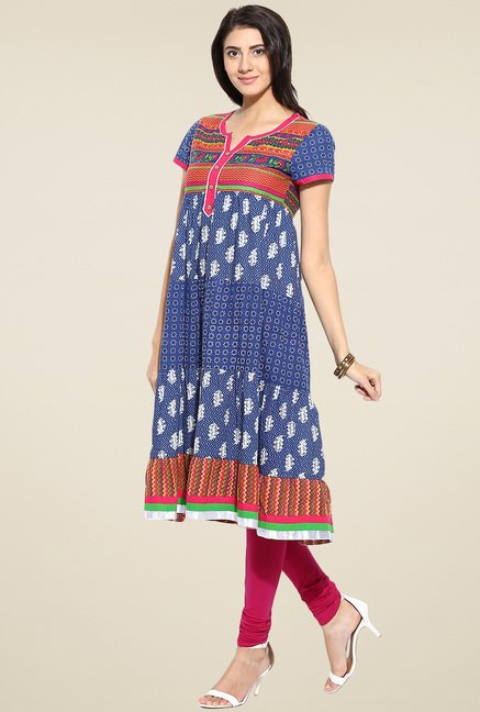 Evam Blue Cotton Anarkali Kurta
