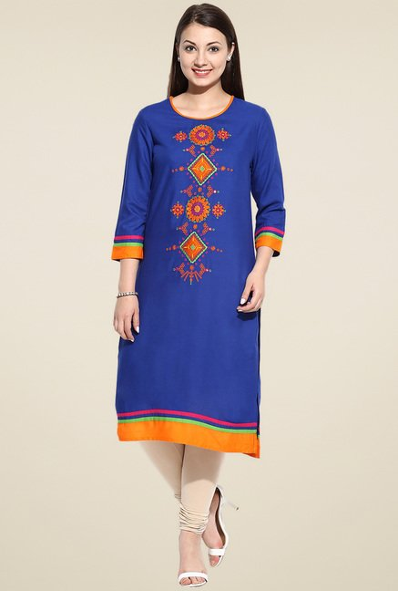 Evam Blue Embroidered Long Kurta