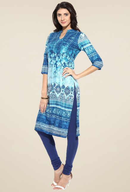 Evam Blue Rayon Long Kurta