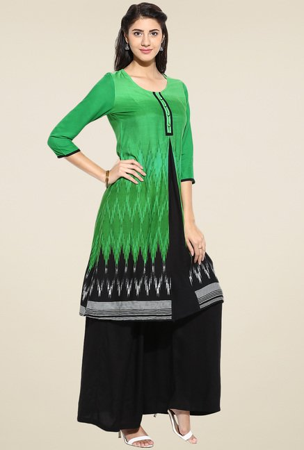Evam Green Printed Long Kurta