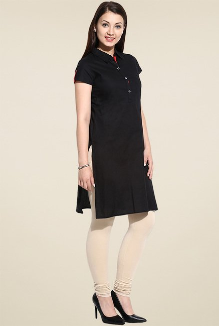 Avaana Black Cap Sleeves Long Kurta